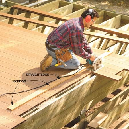 <b>Photo 11: Cut in stair nosing</b></br> Run the edge of your saw bed against the straightedge to cut a straight line for the recessed stair nosing board.