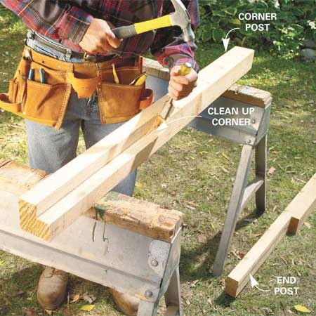 <b>Photo 12: Prepare the posts</b></br> Mark the 1-1/2-in. notches for the six 4x4 corner posts to fit over the joists and decking. First, cut them with your circular saw. Pry out the cutout piece and clean up the notch with a sharp chisel. Notch four 4x4 posts for the ends. Drill 1-1/8-in. holes 3/4 in. deep for the copper railings (Figure D).