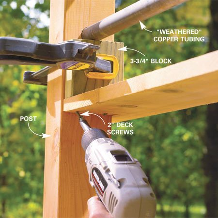 "<b>Photo 16: Attach the rails</b></br> Cut the lower rail caps to fit (see ""Marking and Cutting the Lower Rail Cap,"" below). Butt a 3-3/4-in. block against the copper tube and clamp it in place. Predrill holes. Then drive 2-in. deck screws to support the 1x6 caps. Cut, fit and nail the 2x6 top rail into place."