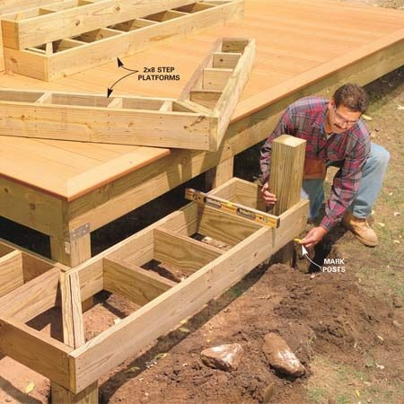 <b>Photo 18: Construct the stair platform</b></br> Rip 2x8s for the lower stair and build the stair platforms. Stack and level them. Nail the platforms to the deck and to each other. Dig footings and pour concrete pads for the bottom stairs. Cut 6x6 posts to support them.