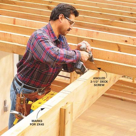<b>Photo 21: Attach the lattice boards</b></br> Mark the top of the 2x12s for the 2x4 lattice boards. Cut the 2x4s to length and mark the beam locations on them. Align the marks and screw them together with 2-1/2-in. deck screws.