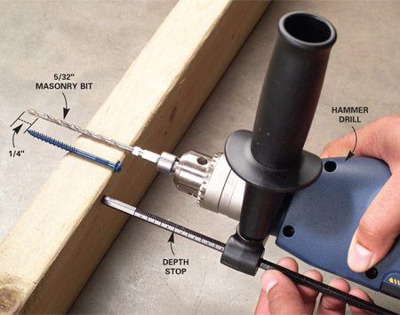 <b>Photo 1: Adjusting depth stop on hammer drill</b></br> Adjust the depth stop to drill a hole 1/4 in. deeper than the screw will penetrate.