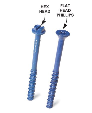 <b>Photo 5: Hex and flat head screws</b></br> Hex head screws are easier to drive. Use a hex nut driver.