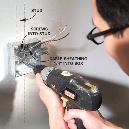 <b>Photo 3: Mount the box</b></br> Mount the box to the wall by driving two 1-5/8 in. drywall screws through the drywall and into the stud. Keep the box level.