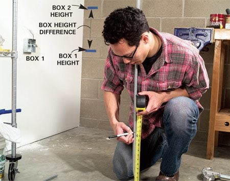 <b>Photo 6: Mark the next cut</b></br> Measure the difference in height between Box 1 and Box 2 (above the bench; Figure A). Subtract 5 in. from the measurement, then add 3/4 in. to allow for the thickness of the conduit. Mark that distance on the conduit.