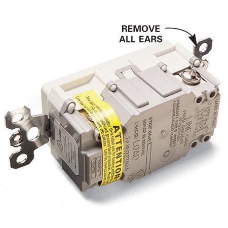 <b>Detail</b></br> GFCI ears.