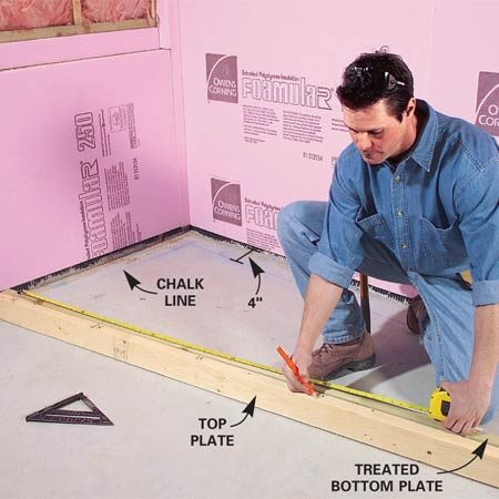 <b>Photo 3: Cut top and bottom plates</b></br> Snap chalk lines 4 in. away from the insulation on the exterior walls. Then cut 2x4 bottom and top plates and lay out stud locations every 16 in. on each plate.
