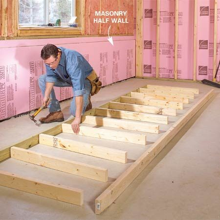 <b>Photo 8: Half-wall studs</b></br> Cut half-wall studs so the finished wall is slightly taller than the masonry. Then lay out the stud locations on the plate and nail the studs in place with 16d nails.