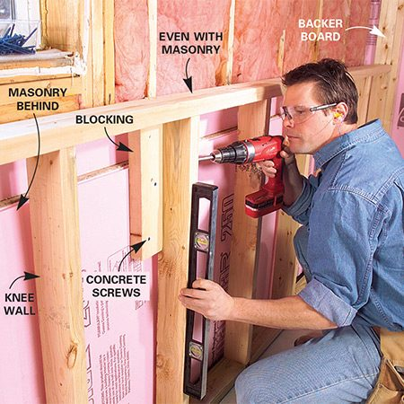 <b>Photo 9: Install the knee wall</b></br> Tip the knee walls up and fasten them to the floor. Then fasten blocks through the foam into the masonry at every third stud with 3-in. concrete screws. Plumb and screw the studs to the blocking for a solid wall.