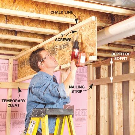<b>Photo 3: Fasten soffit assembly</b></br> Snap a chalk line on the floor joists 2-1/2 in. away from the nearest obstruction and parallel to the wall. Position the assembly along the chalk line and fasten it to the bottom of the floor joists with 3-in. screws.