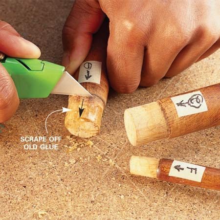 <b>Photo 1: Clean dowels</b></br> Clean all the old glue off the dowel ends by scraping with a utility knife. Don't remove any of the wood or your reglued joint will have gaps and be less strong.
