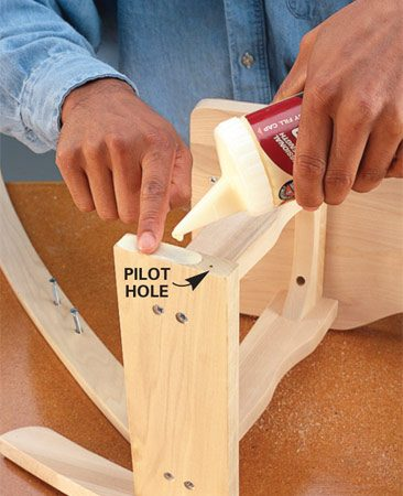 <b>Photo 2: Glue</b></br> Apply the glue to the bottom piece. Let the glue sit for a minute before you join the parts, since the glue soaks more deeply into end-grain fibers.