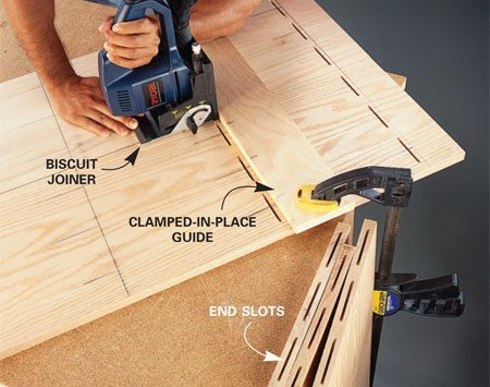 <b>Photo 1: Cut slots</b></br> Cut oval slots with a biscuit joiner. Use a guide to carefully align the slots to match the slots in the pieces to be joined.