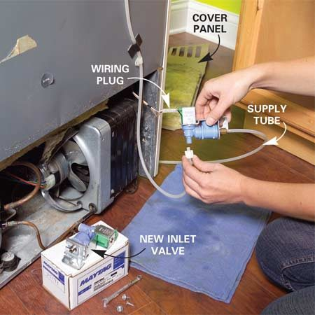 <b>Photo 5: Replace the inlet valve</b></br> Replace the inlet valve. Unscrew the cover panel and remove the screws that hold the valve in place. Unplug the wiring and unscrew the nuts that connect the water lines. Reverse these steps to install the new valve.