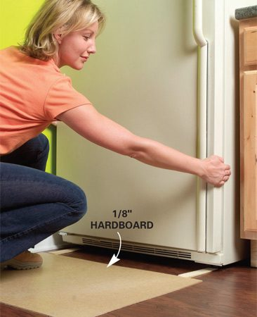 Lay hardboard to protect floor