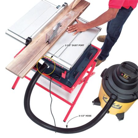 <b>Connect the vacuum to the tool</b></br> Buying a tool with a dedicated dust port can save hours of time trying to adapt a tool yourself.