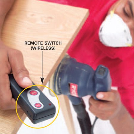 <b>Use a wireless hand-held switch</b></br> Turn your vacuum on and off easily with a wireless remote that you store in your pocket or Velcro to handy spot near the workbench.