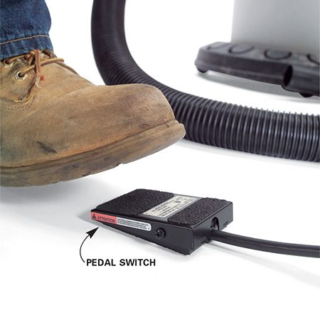 <b>Use a foot switch</b></br> When you need both hands to hold your work piece, try getting a foot switch to hook directly to your shop vacuum to easily turn it off and on.