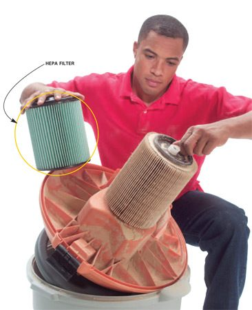 <b>Install a better filter</b></br> Upgrade to a HEPA filter to trap finer particles.