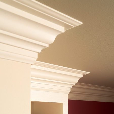 <b>Beautiful crown molding</b></br> The built-up crown we chose for this project combines standard crown molding with two pieces of base trim. The result is a large, dramatic crown that's easier to install and less expensive than single-piece crown molding of similar size.