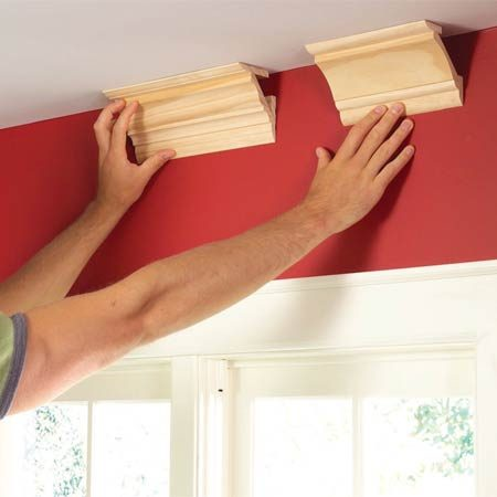 <b>Photo 1: Experiment with different molding profiles</b></br> Experiment with built-up molding combinations to make your decision easier. Nail or glue samples together and hold them against the ceiling.