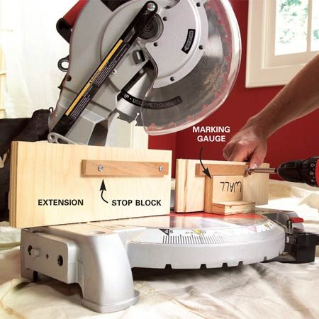 <b>Photo 10: Set up your miter saw</b></br> Attach extensions to your miter saw's fence with screws or hot glue. Then screw on stop blocks, using your marking gauge upside down to position them.