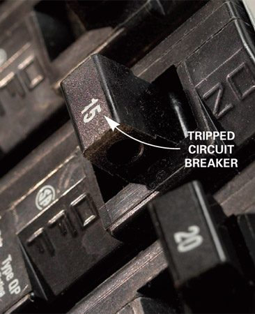 "<b>Photo 2: Find the tripped breaker</b></br> <p>Locate tripped breakers by looking for breaker handles  that aren't lined up with the rest. Last, push the breaker handles toward the  ""on"" position. Tripped breakers will ""give"" a little rather than feel solid. </p>"