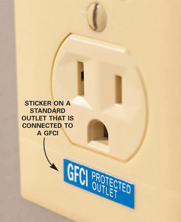 "<b>Photo 1: Identification label</b></br> <p>Protected  ""downstream"" receptacle should be labeled if they have GFCI protection. </p>"