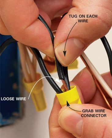 <b>Photo 1: Tug wires at connectors</b></br> Grab the wire connector. Tug on each wire in the bundle to see if any are loose. If you discover a loose wire, remove the wire connector. Cut and strip all the wires in the bundle to expose 1/2 in. to 3/4 in. of fresh copper wire (check the instructions on the wire connector container for the exact stripping length).