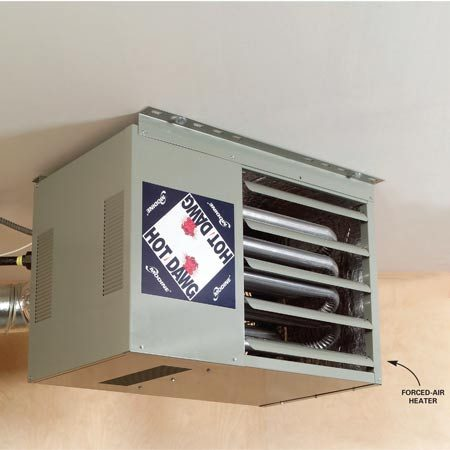 <b>Forced-air heater</b></br> A forced-air heater is less expensive than an infrared heater, but it blows air (and dust), which makes it difficult to paint or stain projects.