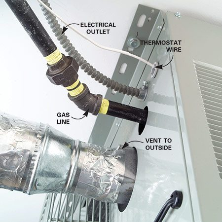<b>Forced-air heater connections</b></br> Installation of a forced-air heater