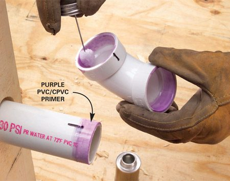 <b>Photo 1: Apply the cement</b></br> Wipe the inside of the fitting and the outside of the pipe with primer. Spread an even layer of solvent cement on the inside of the fitting and outside of the pipe.