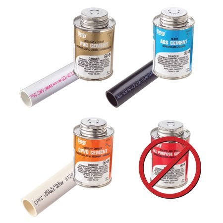 <b>Match the solvent to the pipe</b></br> For a reliable seal, you have to use the solvent that's formulated for the pipe. All of them contain aggressive solvents and adhesives, so beware of drips and spills.