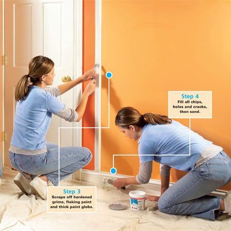 <b>Prep the trim and base</b></br> A good paint job is 90 percent prep work.