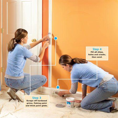 <b>Prep the trim and base</b></br> A good paint job is 90 percent prep work.