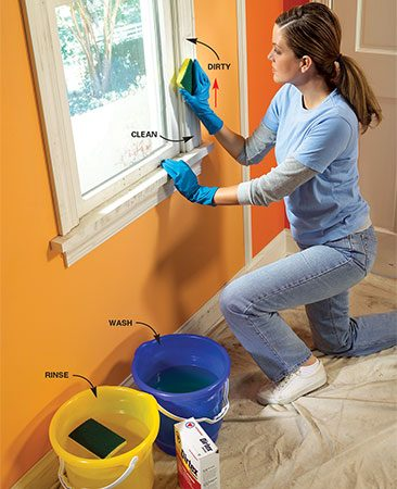 <b>Wash the trim</b></br> Clean and rinse one section before moving onto the next section.