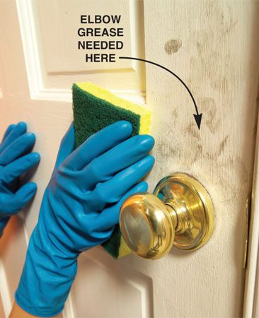 <b>Clean high-traffic areas</b></br> Spend extra time cleaning areas that have a lot of hand contact, like around door handles.