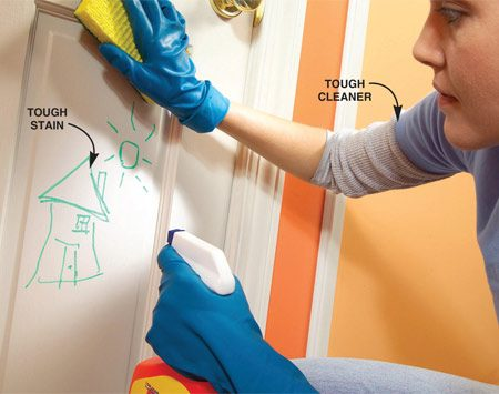 <b>Clean stains</b></br> Use a heavy-duty cleaner on stains, or cover them with a stain-blocking primer.