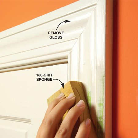 <b>Sand all woodwork</b></br> Use a sanding sponge or sand paper to take the shine off the woodwork.