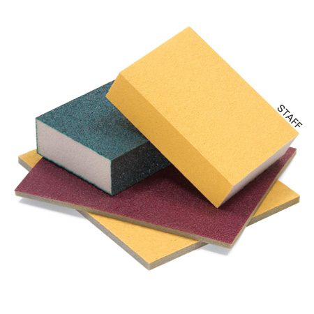 <b>Sanding sponges</b></br> A sanding sponge can reach crevices that are hard to sand with paper.