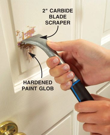 <b>Scrape loose paint</b></br> Remove buildup and loose paint with a 2-in. carbide scraper.