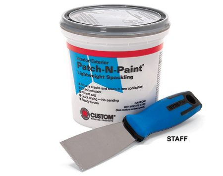 <b>Putty knife and spackling compound</b></br> All you need is a putty knife and spackling compound to fill the holes.