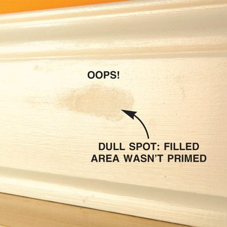 <b>Dull spot that wasn't primed</b></br> Prime areas that are filled with compound, or the dull spot will show through the finish coat of paint.