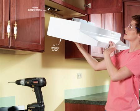 <b>Photo 1: Remove the range hood</b></br> Shut off the power to the range hood, disconnect the electrical and vent connections, and remove the mounting screws for the old hood. Slide it out carefully to prevent damaging the side cabinets.
