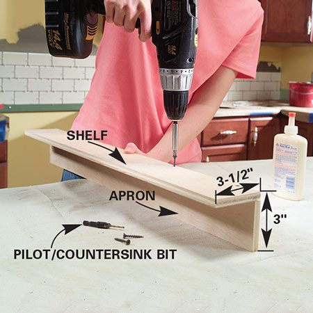 <b>Photo 1: Assemble the shelf</b></br> Glue and screw the lower shelf to the apron with 1-5/8 in. screws. Use a pilot and countersink combination bit to predrill the holes.