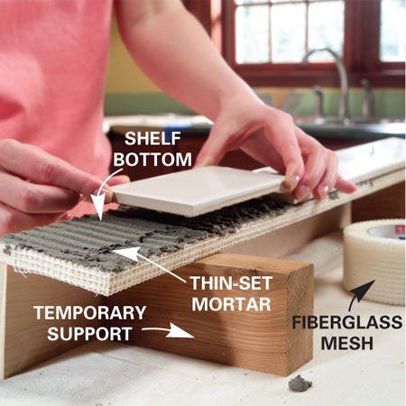 <b>Photo 2: Mortar the plywood</b></br> Fold fiberglass mesh over the front of the shelf and apply thin-set mortar to the bottom of the shelf. Set the tile.