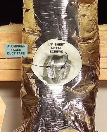 <b>Screw the ductwork together</b></br> Connect the ductwork with sheet metal screws, wrap the connections with aluminum faced duct tape, then wrap the attic part of the duct work with an insulated sleeve.