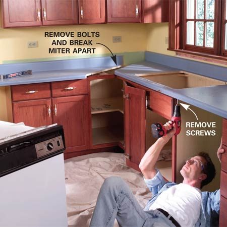 <b>Photo 1: Remove the sink</b></br> Shut off the water supply valves and disconnect the tubes to the faucet. Disconnect the sink drain. Pry up the edge of the sink and slide wood blocks under to provide space for a handhold. Lift out the sink.