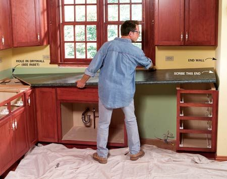 <b>Photo 4: Place the countertop</b></br> Slide the point of the miter into a hole in the drywall (inset photo) and lower the counter into place. With the front overhang even with the cabinet fronts, slide the top against the end wall.