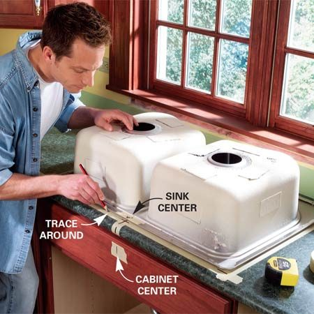 <b>Photo 1: Trace the sink</b></br> Mark the center of the sink cabinet on the countertop. Center the sink (or sink template) on the mark and set the front edge far enough back to fit inside the cabinet frame. Trace around the sink or template, then add an inner cutting line.